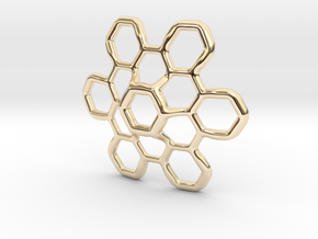 Hex Petal - 4cm in 14K Yellow Gold