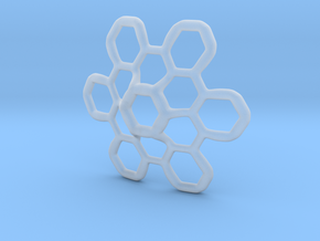 Hex Petal - 4cm in Smooth Fine Detail Plastic