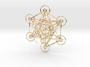 Metatron's Cube - 8cm - wStand in 14K Yellow Gold