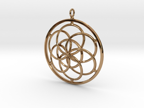 Seed of Life Pendant - 4.5cm in Polished Brass