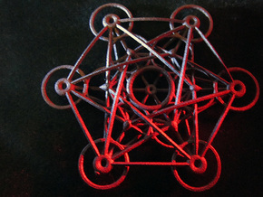 Metatron's Cube - 8cm - wStand in Polished Bronzed Silver Steel