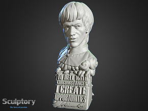 Bruce Lee Bust with Quote, Size M in White Processed Versatile Plastic