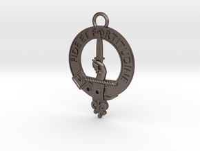 Shaw Clan Crest key fob in Polished Bronzed Silver Steel