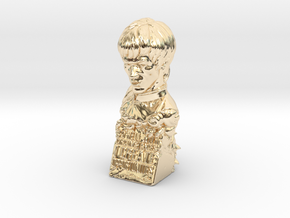 Bruce Lee Bust with Quote, Size S in 14K Yellow Gold