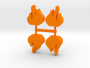 Flame Meeple, 4-set in Orange Processed Versatile Plastic
