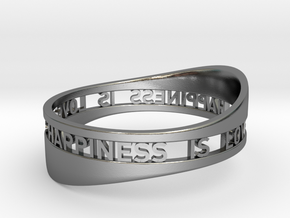 LOVE IS HAPPINESS IS LOVE - curved in Polished Silver