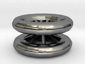 Double Wheel Export 3 in Fine Detail Polished Silver