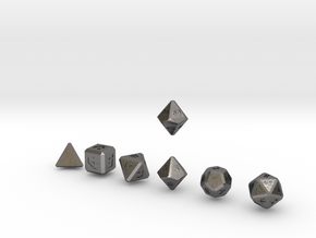 FUTURISTIC Innie Bevels dice in Polished Nickel Steel