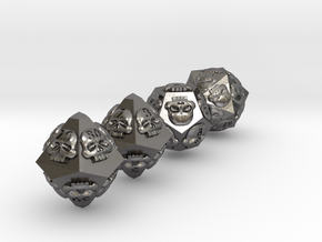 NECRON skull dice v2 d00 d10 d12 d20 in Polished Nickel Steel