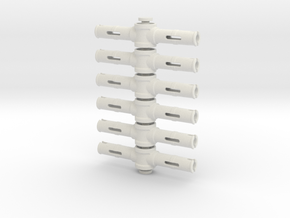 Pinhole With 2 Pins 2m 6 piece set in White Natural Versatile Plastic