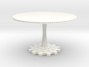 1:12 scale miniature industrial art table in White Processed Versatile Plastic