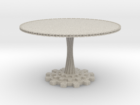 1:12 scale miniature industrial art table in Natural Sandstone