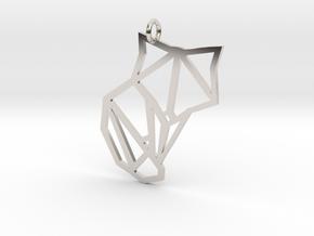 Origami Fox Pendant in Platinum