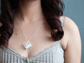 Greenhouse Model Pendant Necklace in White Processed Versatile Plastic
