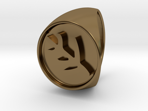Classic Elder Sign Signet Ring Size 10 in Polished Bronze