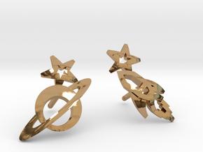 Earrings - Rocket beyond Barriers in Polished Brass