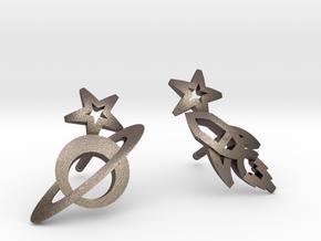 Earrings - Rocket beyond Barriers in Polished Bronzed Silver Steel