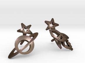Earrings - Rocket beyond Barriers in Polished Bronze Steel