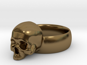 Skull Ring in Polished Bronze