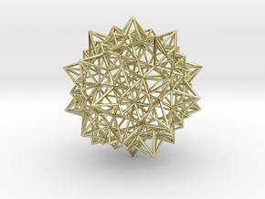 Stellated Icosidodecahedron - Wireframe in 18k Gold Plated Brass