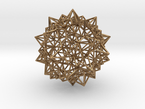 Stellated Icosidodecahedron - Wireframe in Natural Brass