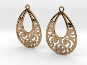 Teardrop Filigree Earrings in Polished Brass