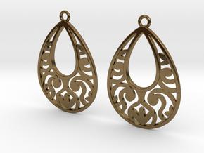 Teardrop Filigree Earrings in Polished Bronze