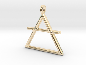 AIR Alchemy symbol Jewelry pendant in 14K Yellow Gold