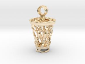 tritium: Witch Lantern vial pendant keyfob in 14K Yellow Gold