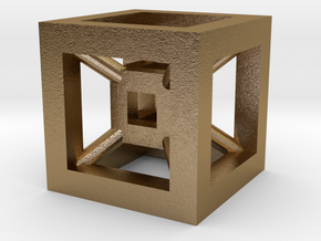 4D Cube(Tesseract) 12.5mm in Polished Gold Steel