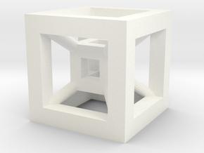 4D Cube(Tesseract) 12.5mm in White Processed Versatile Plastic