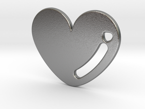 Love Heart Pendant in Raw Silver