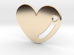 Love Heart Pendant in 14k Gold Plated Brass