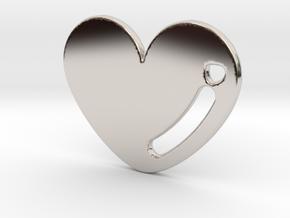 Love Heart Pendant in Rhodium Plated Brass