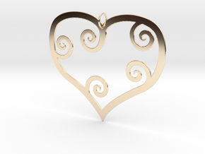 Heart Shaped Pendant in 14k Gold Plated Brass