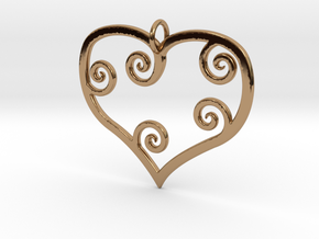 Heart Pendant Charm in Polished Brass