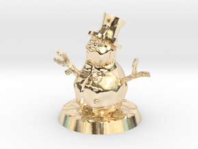 28mm/32mm Snowman in 14k Gold Plated Brass