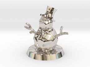 28mm/32mm Snowman in Rhodium Plated Brass