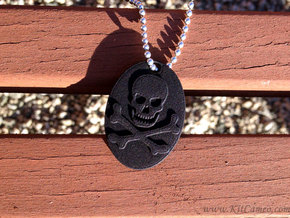 Skull and Crossbones Pendant in Black Natural Versatile Plastic