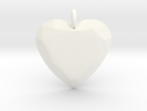 Heart Ornament in White Processed Versatile Plastic