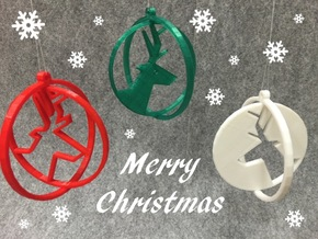 Deer ring 2 for Christmas in White Processed Versatile Plastic