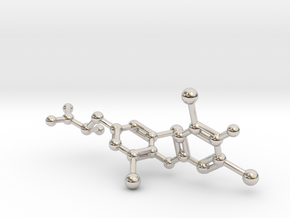 Levothyroxine (L-thyroxine, T4) Molecule in Rhodium Plated Brass