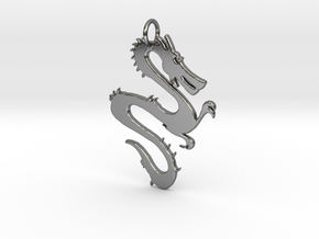 Dragon Pendant & Charm in Fine Detail Polished Silver