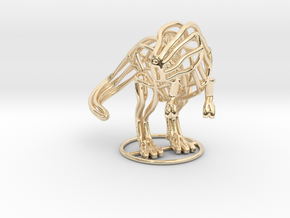 T-Rex Wireframe  in 14k Gold Plated Brass
