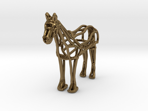 Horse Wireframe keychain in Polished Bronze