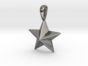 Star Pendant Necklace in Fine Detail Polished Silver