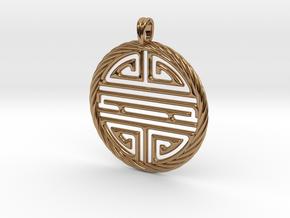 Shou Symbol Jewelry Pendant in Polished Brass