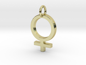 Female Gender Symbol Personalized Monogram Pendant in 18k Gold Plated Brass