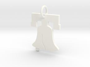 Liberty Bell Pendant Charm in White Processed Versatile Plastic