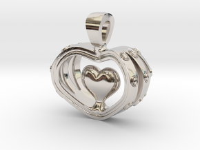 Heart in the Heart pendant v.2 in Rhodium Plated Brass